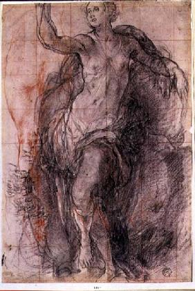 Study of a female figure with loose drapery