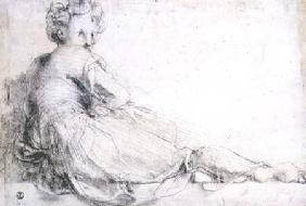 Study of a female figure for the Villa Medici at Poggio a Caino (charcoal)