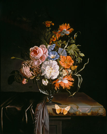 A Still Life Of Flowers In A Vase On A L Rachel Ruysch