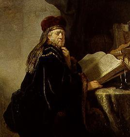 van Rijn, Rembrandt : The scholar (or: Age rabbi...