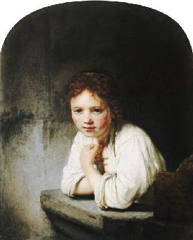 Young girl, leaning on a window parapet
