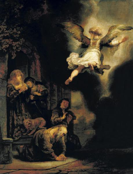 The archangel Raphael leaves the family of Tobias.