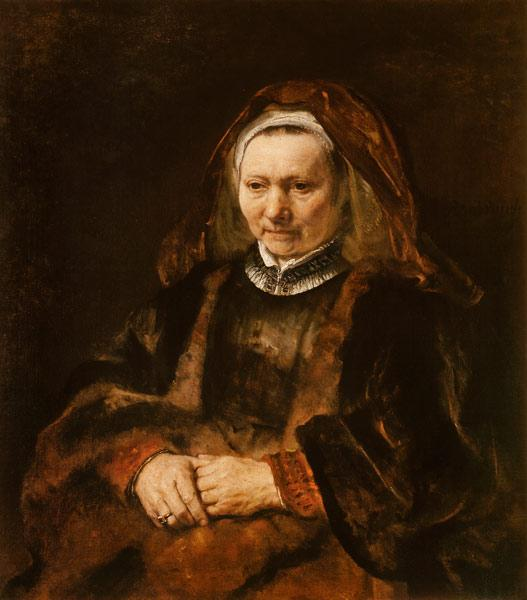 Rembrandt (Werkstatt) : Portrait of an old woman w...