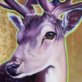 Deer, pink and gold
