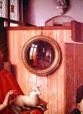 St. John the Baptist and the Donor, Heinrich Von Werl, from the Werl Altarpiece, detail of the mirro