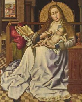 Madonna with the child in front of a screen
