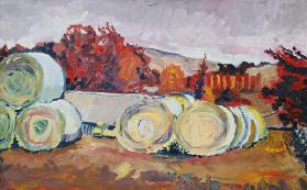 Haybales, Scotland, 1996 (oil on board)