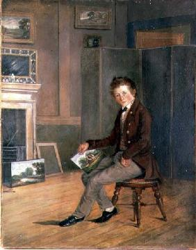 Portrait of Joseph Stannard (1797-1830) as a Youth (oil on paper on canvas)
