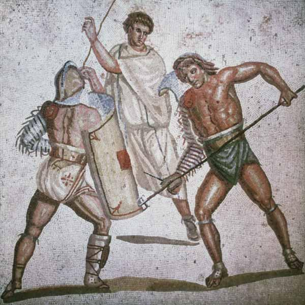 Mosaik, r�misch : Two fighting gladiators an...