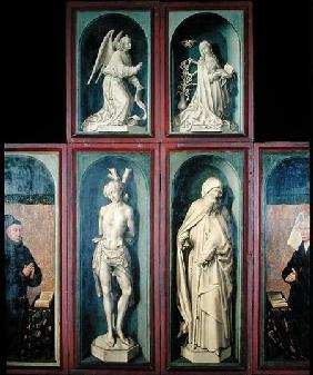 The Annunciation, St. Sebastian, St. Anthony the Great and the two Donors, panels from the reverse o