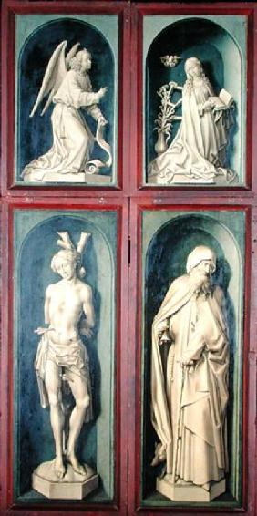 The Annunciation, St. Sebastian and St. Anthony the Great, panels from the reverse of the Last Judge