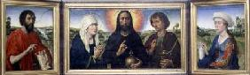 The Braque Family Triptych: (LtoR) St. John the Baptist, Christ the Redeemer between the Virgin and
