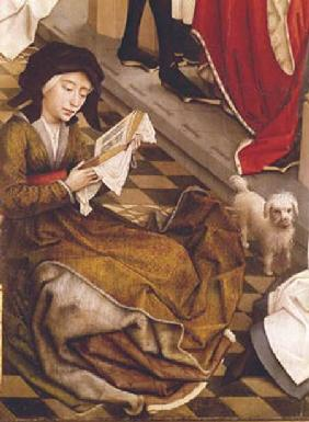 The Seven Sacraments Altarpiece, detail of a woman reading and a dog, from the right wing
