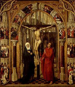 The crucified in a church portal, surrounded by scenes from the life Jesu.