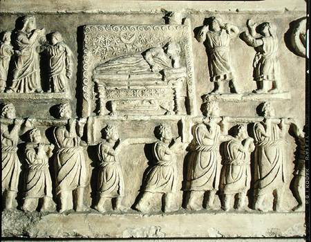 Roman relief sculpture depicting a funeral