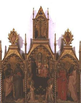 Madonna and Child enthroned with Saints (tempera on panel)