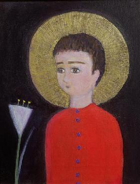 Boy with Lily, 2002 (acrylic and gold leaf on canvas)