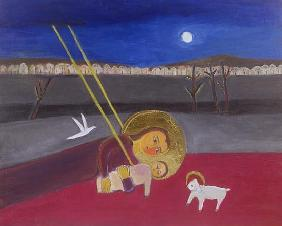 Mother and Child at Mazar, 2002 (acrylic on canvas)