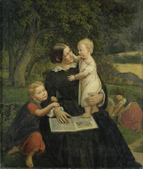 Emilie Marie Wasmann, the artist's wife, with Elise and Erich, their oldest children