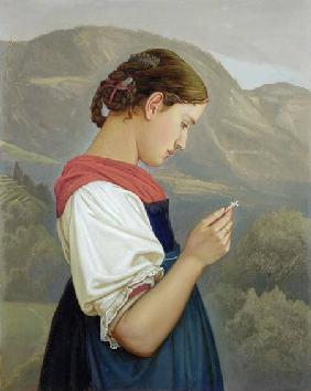 Tyrolean Girl Contemplating a Crucifix
