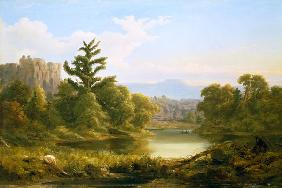 American River and Woodland Landscape in Pennsylvania (Monarch of of The Grove)