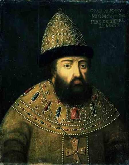 Portrait of tsar alexei i mihailovitch (1629-76) - russian school