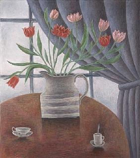 Tulips, Curtain, Cups, 2002 (oil on canvas)