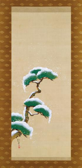 Hanging Scroll Depicting A Snow Clad Pine, from A Triptych of the Three Seasons, Japanese, early 19t