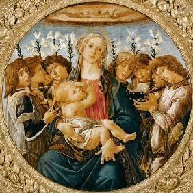 Botticelli, Sandro : Maria with the child and s...