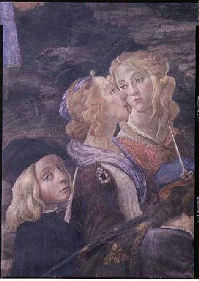 The Purification of the Leper and the Temptation of Christ, in the Sistine Chapel: detail of two wom