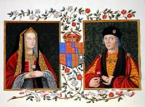 Double portrait of Elizabeth of York (1465-1503) and Henry VII (1457-1509) holding the white rose of