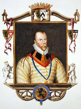 Portrait of Ambrose Dudley (c.1528-d.15 90) 1st Earl of Warwick from 'Memoirs of the Court of Queen