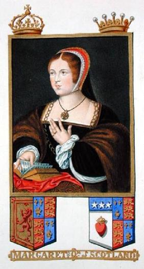 Portrait of Margaret Tudor (1489-1541) Queen of Scotland from 'Memoirs of the Court of Queen Elizabe