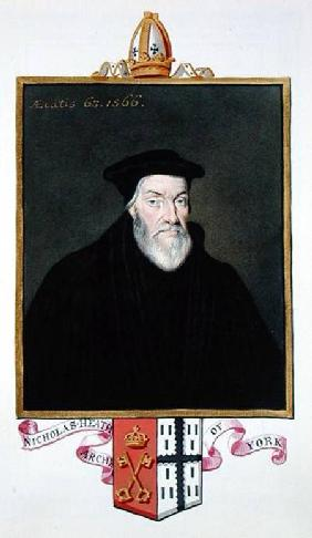 Portrait of Nicholas Heath (c.1501-78) Archbishop of York from 'Memoirs of the Court of Queen Elizab