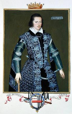 Portrait of Robert Devereux (1566-1601) 2nd Earl of Essex from 'Memoirs of the Court of Queen Elizab