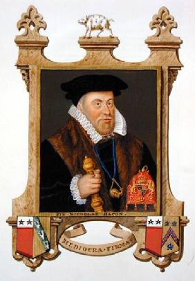Portrait of Sir Nicholas Bacon (1509-79) from 'Memoirs of the Court of Queen Elizabeth'