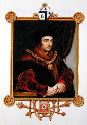 Portrait of Sir Thomas More (1478-1535) from 'Memoirs of the Court of Queen Elizabeth', after a port