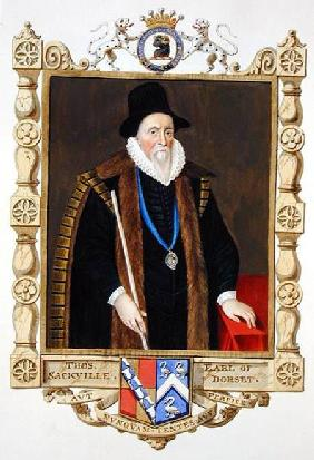 Portrait of Thomas Sackville (1536-1608) 1st Baron Buckhurst from 'Memoirs of the Court of Queen Eli