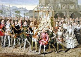 Queen Elizabeth I in procession with her Courtiers (c.1600/03) from 'Memoirs of the Court of Queen E