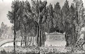 Jean-Jacques Rousseau's (1712-78) tomb at Ermenonville