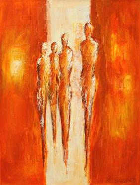 Vier Figuren in Orange