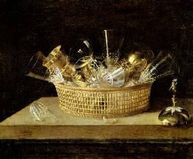 Still Life with a Basket of Glasses