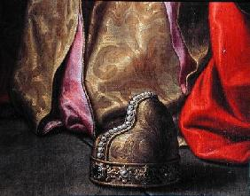 Cornu hat, detail from Venice on her Knees in front of the Virgin