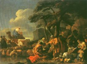 Jacob buries the idol pictures under the oak of Sichem