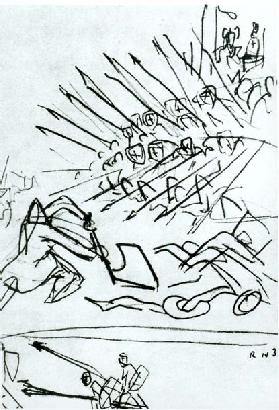 The Battle of the Lake, sketch of a scene from the film Alexander Nevsky, 1938 (pen & ink on paper)