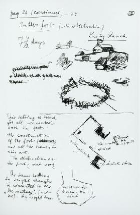 Page 21 of the synopsis of Sutters Gold, c.1930-35 (pen & ink on paper) (b/w photo)
