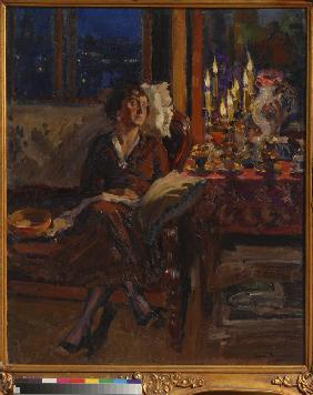 Lady with Book in an Interior