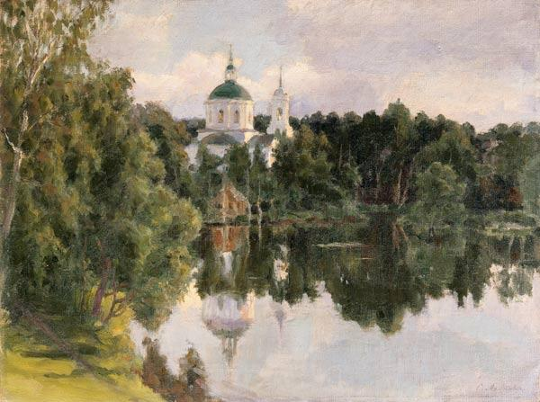 Look at a Russian cloister over the river