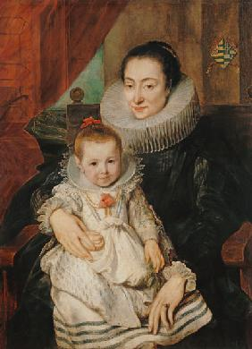 Portrait the Marie Clarisse, wife of the Jan Woverius with her child.