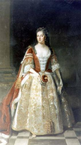 Portrait of Angelina Magdalena (c.1666-1736), second wife of 1st Viscount St. John in coronation rob